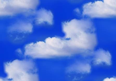 White clouds blue sky seamless repeating background tile