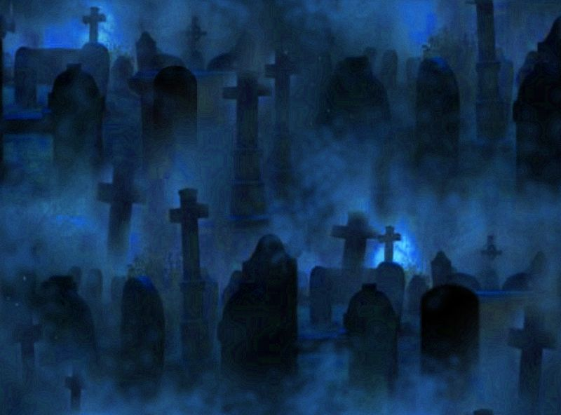 Graveyard Seamless Repeating Background Image Blue