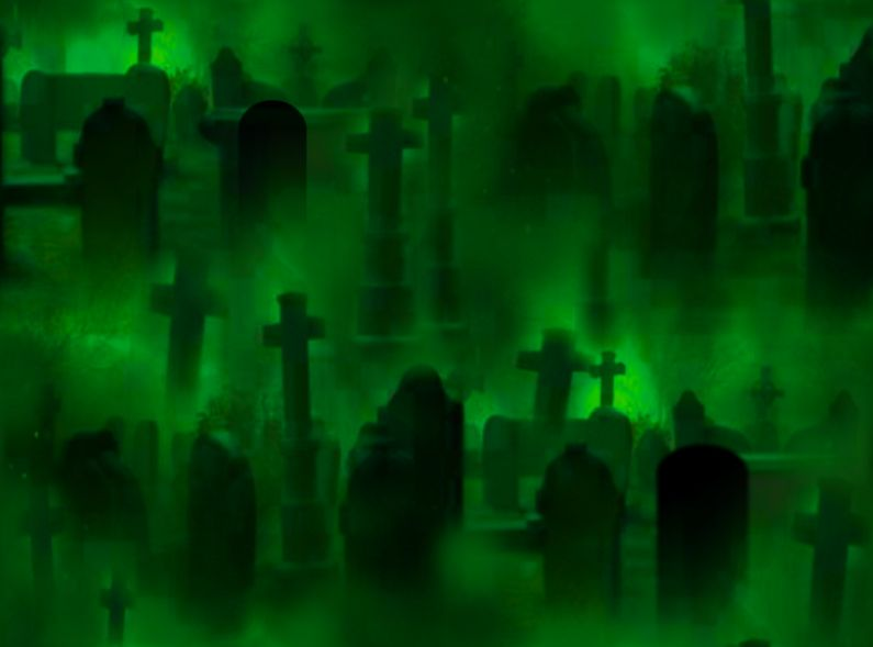 Graveyard Seamless Repeating Background Image Green