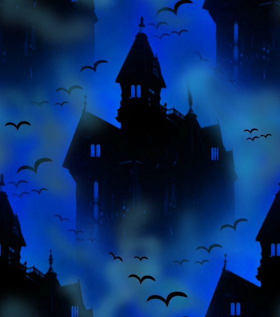 Vampire Castle Blue Seamless Repeating Background Imag